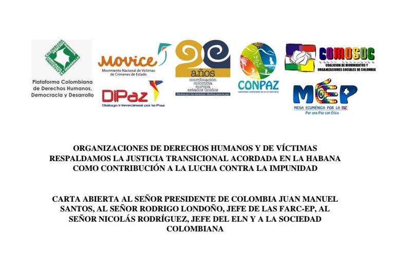 Mas de 500 organizaciones de víctimas y derechos Humanos piden a Santos, las FARC y el ELN que se respete la Justicia Transicional