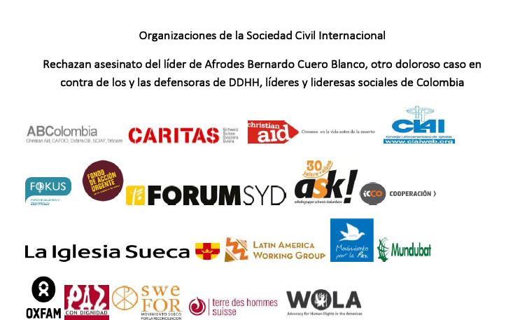 Organizaciones de la Sociedad Civil Internacional rechazan asesinato del líder de Afrodes Bernardo Cuero Blanco, otro doloroso caso en contra de los y las defensoras de DDHH, líderes y lideresas sociales de Colombia