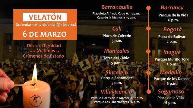 127 organizaciones convocamos Velatón por la vida y la paz: No más asesinatos de líderes sociales