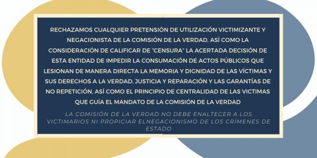 La Comisión de la Verdad no debe enaltecer a los victimarios ni propiciar el negacionismo de los crímenes de Estado