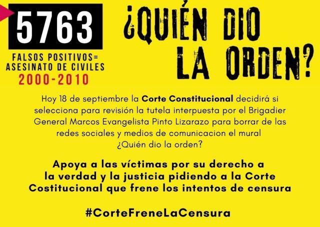 Víctimas piden a la Corte Constitucional que frene la censura contra el mural ¿Quién dio la orden?